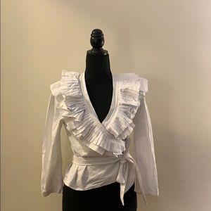 Long Sleeve Wrap Blouse w/ Ruffle Detail